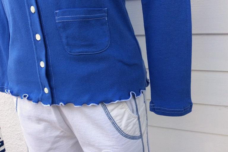 ブルー/ホワイトステッチ