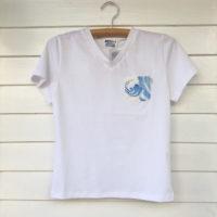 定番 白 胸ポケット付VネックTシャツ